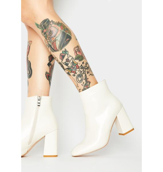 Public Desire Off White Aimee Patent Ankle Boots