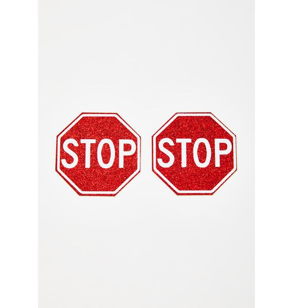 Neva Nude Red Stop Sign Pasties