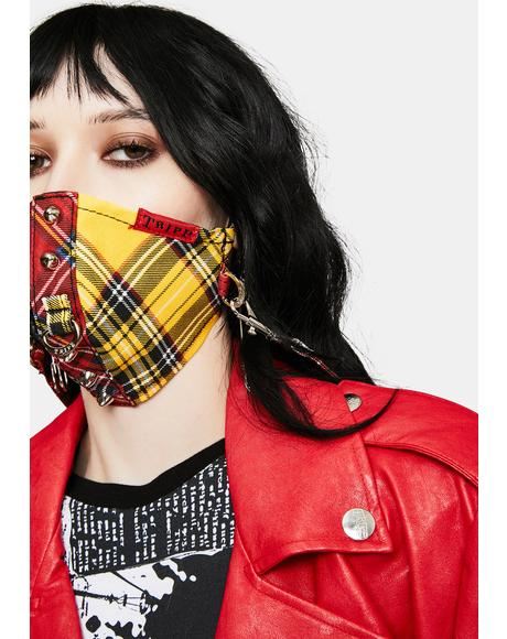 Red Yellow Plaid Split Studs Face Mask