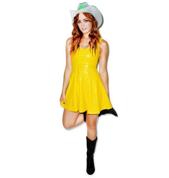 J Valentine Galactic Foil A-Line Dress