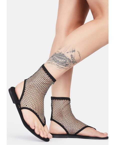 Time To Remember Ankle Fishnet Sandals