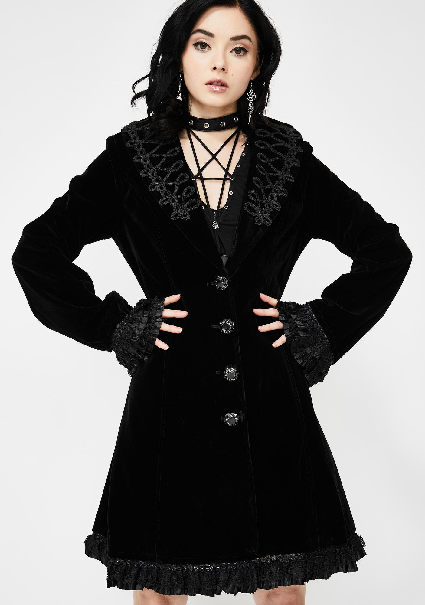 Devil Fashion Embroidered Velvet Trench Coat