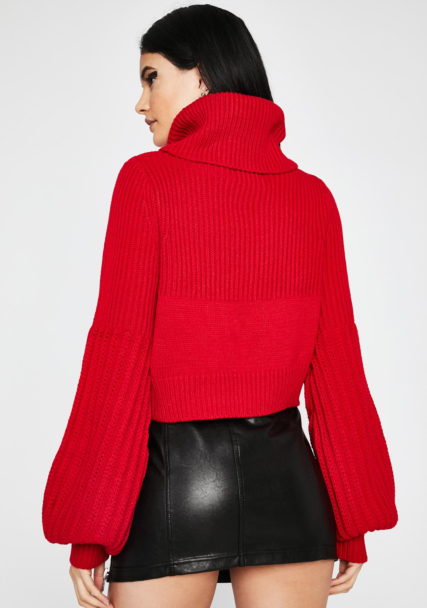 Crimson Before You Go Turtleneck Sweater