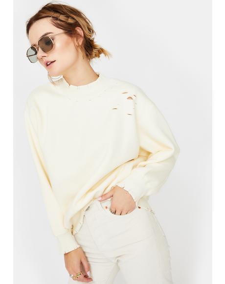 Cream Distressed Mockneck Sweatshirt