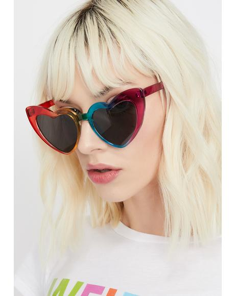 Rainbow Lady Lova Heart Sunglasses