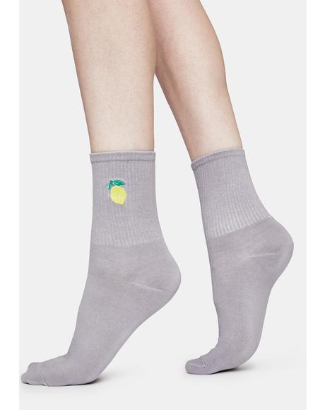 Lemon Tutti Fruity Embroidered Crew Socks