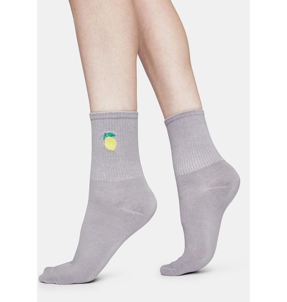 Lemon Tutti Fruity Embroidered Crew Socks