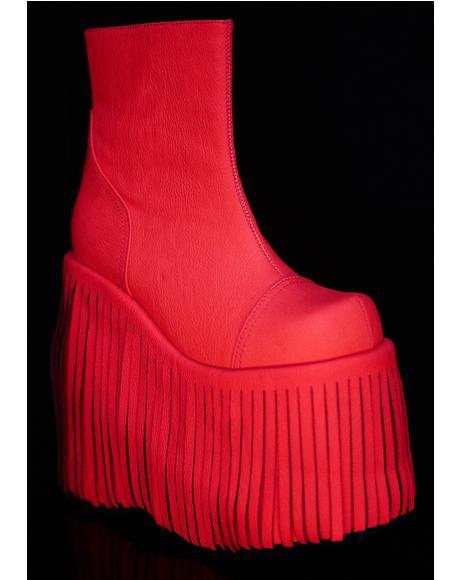 Neon Dance Kraze Fringed Platform Boots