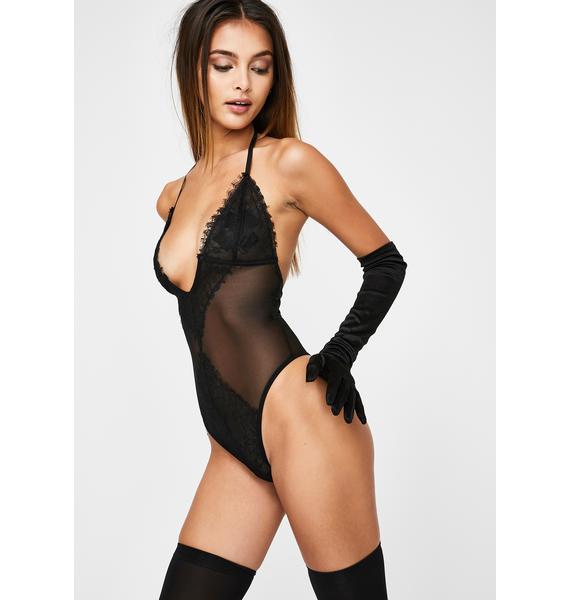 Momokrom Sheer Lace Halter Bodysuit