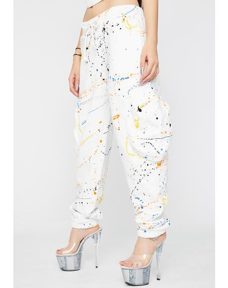Paint Splatter Cargo Sweatpants