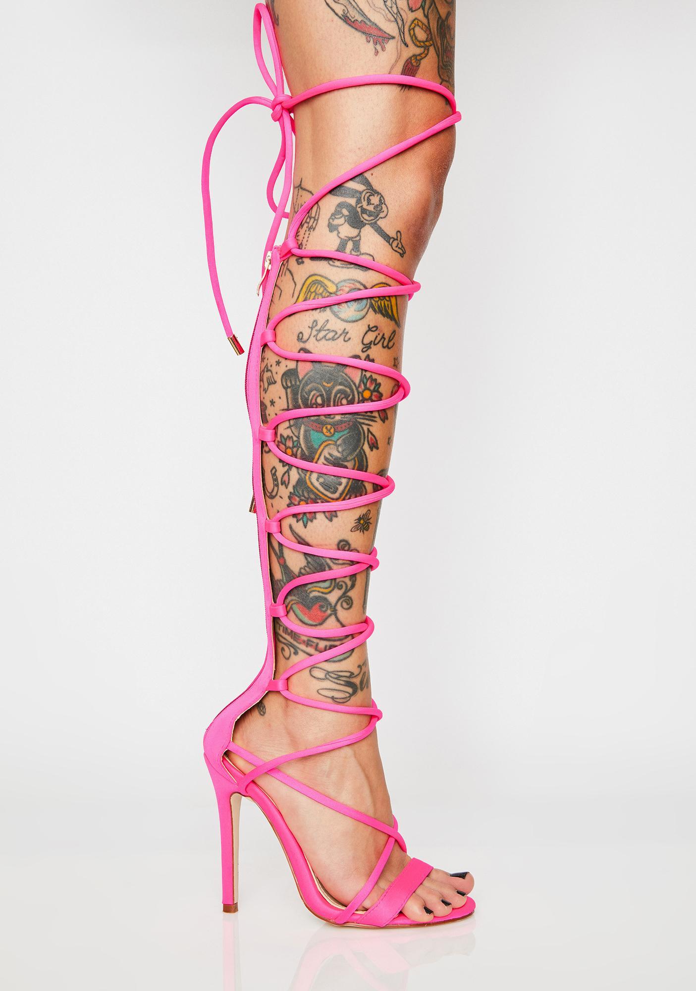 AZALEA WANG Don't Babe Me Lace Up Heels