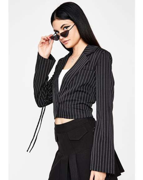 Double Jeopardy Pinstripe Blazer