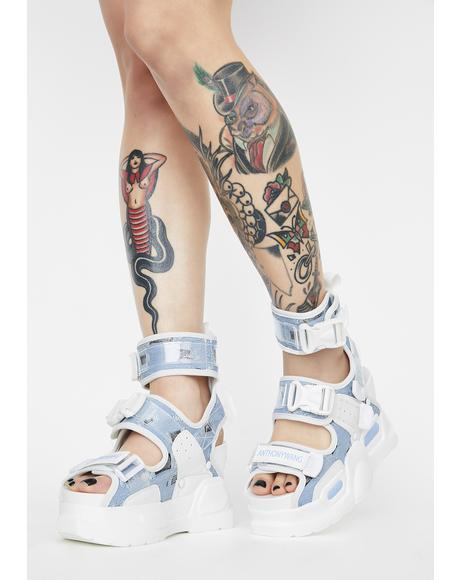 Blue Mulberry Platform Sandals
