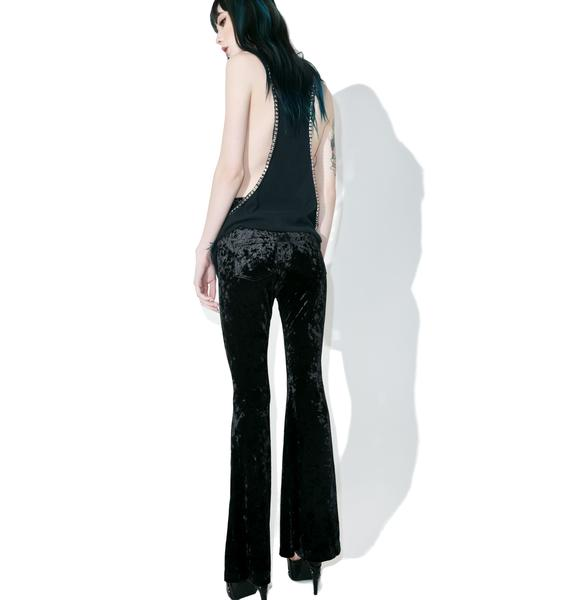 Punk Rave Dark Lies Velvet Lace-up Flares