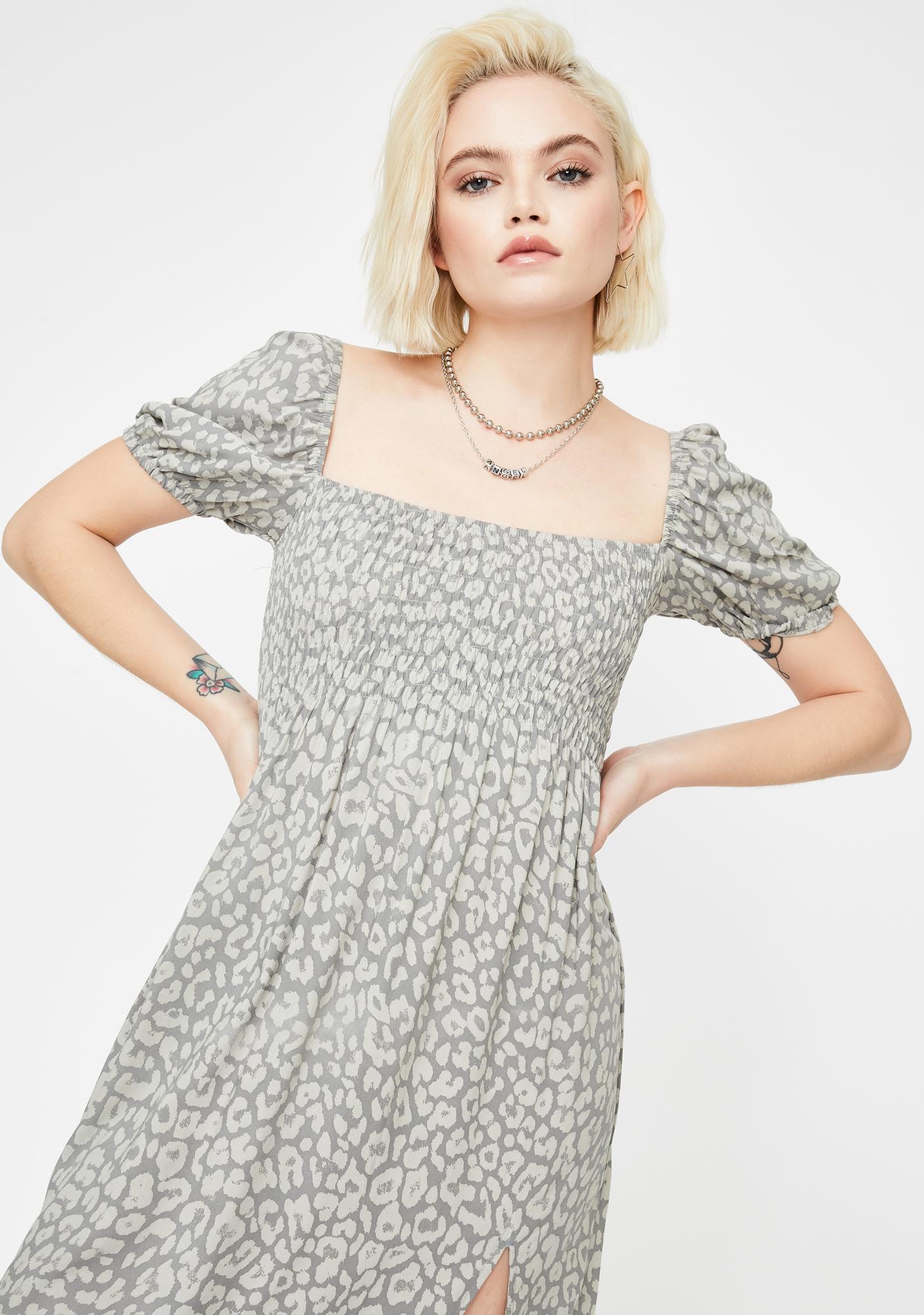 Motel Leopard Daze Grey Eloya Midi Dress