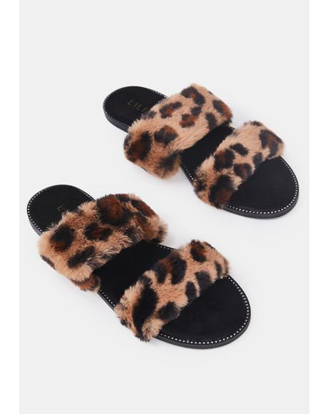 Miss Minx Faux Fur Slides