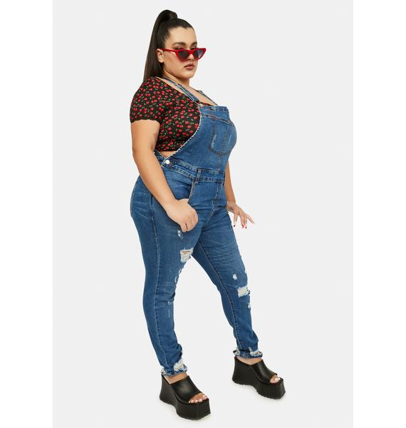 She's Off To The Races Distressed Denim Overalls
