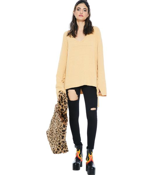 Honeycomb Lace-Up Sweater