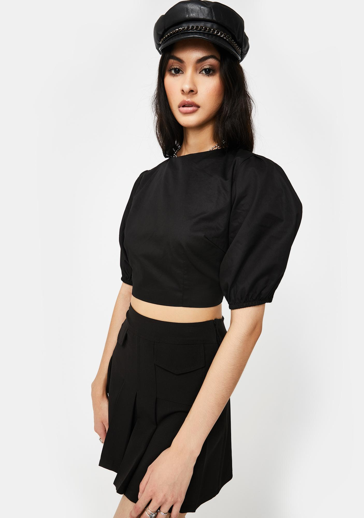 Glamorous Three-Quarter Sleeve Cropped Blouse