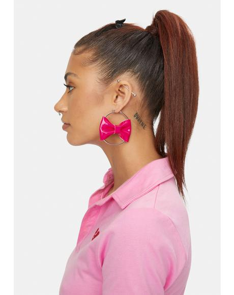 Pink Intention Bow Hoop Earrings