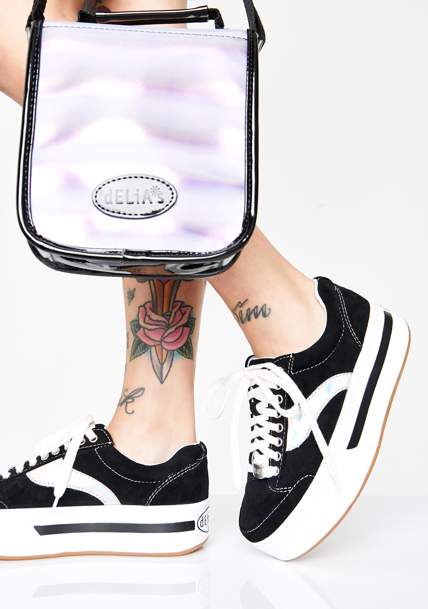Hologram Panel Platform Skater Sneakers