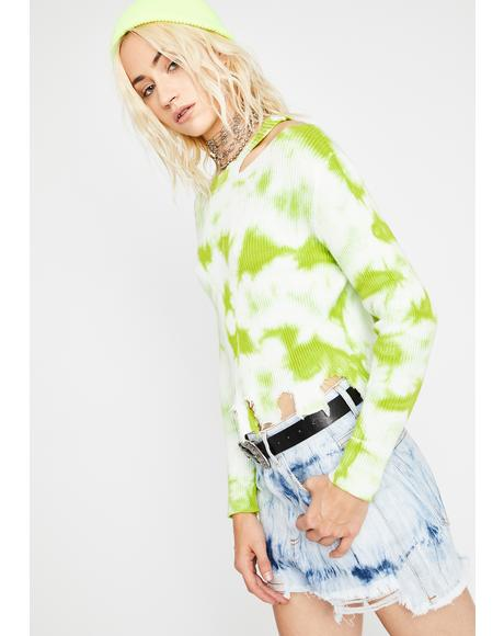 Lime Warped Whirlpool Tie Dye Sweater