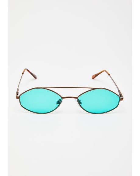Teal Stealth Moves Oval Sunglasses