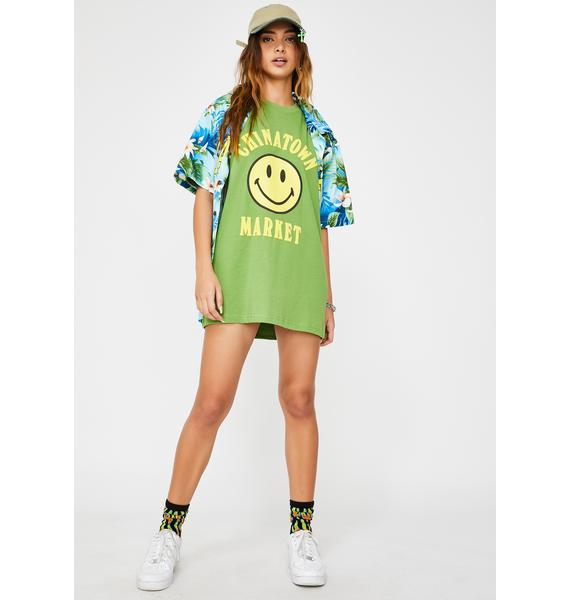 CHINATOWN MARKET Olive Smiley Graphic Tee