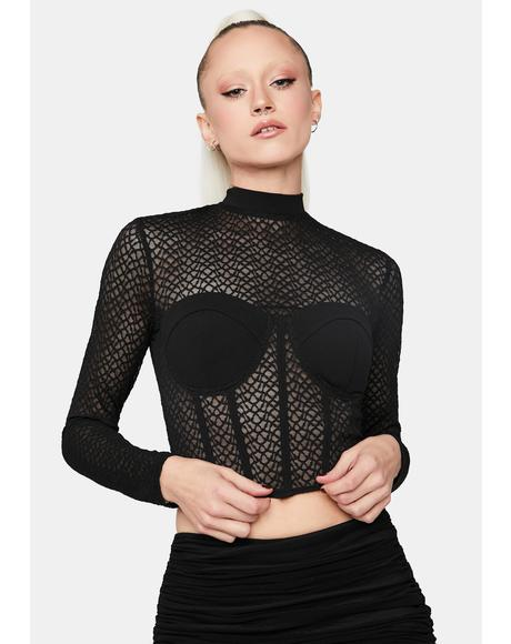 Ease The Pain Mesh Corset Top