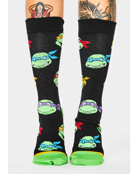 Retro Turtle Heads Crew Socks