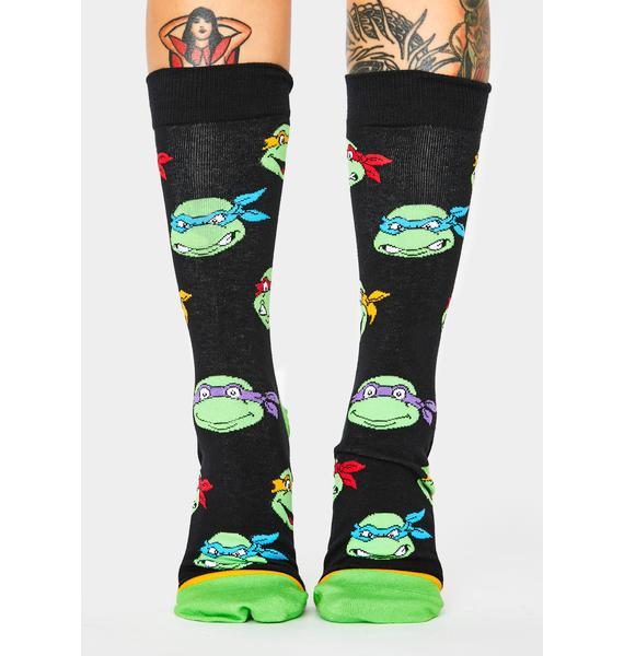 Cool Socks Retro Turtle Heads Crew Socks