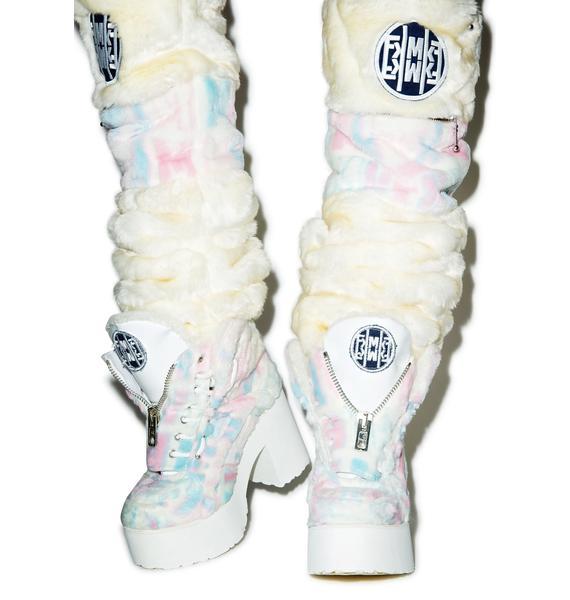 Maria ke Fisherman X Buffalo Platform Cotton Candy Fur Boots