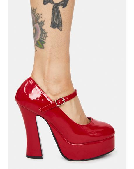 Red Dolly Patent Platform Heels