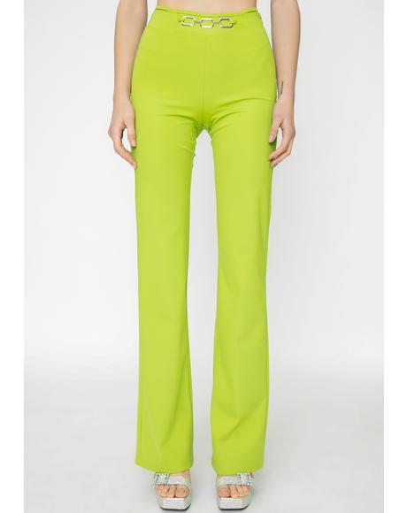 Green Sares Straight Leg Pants