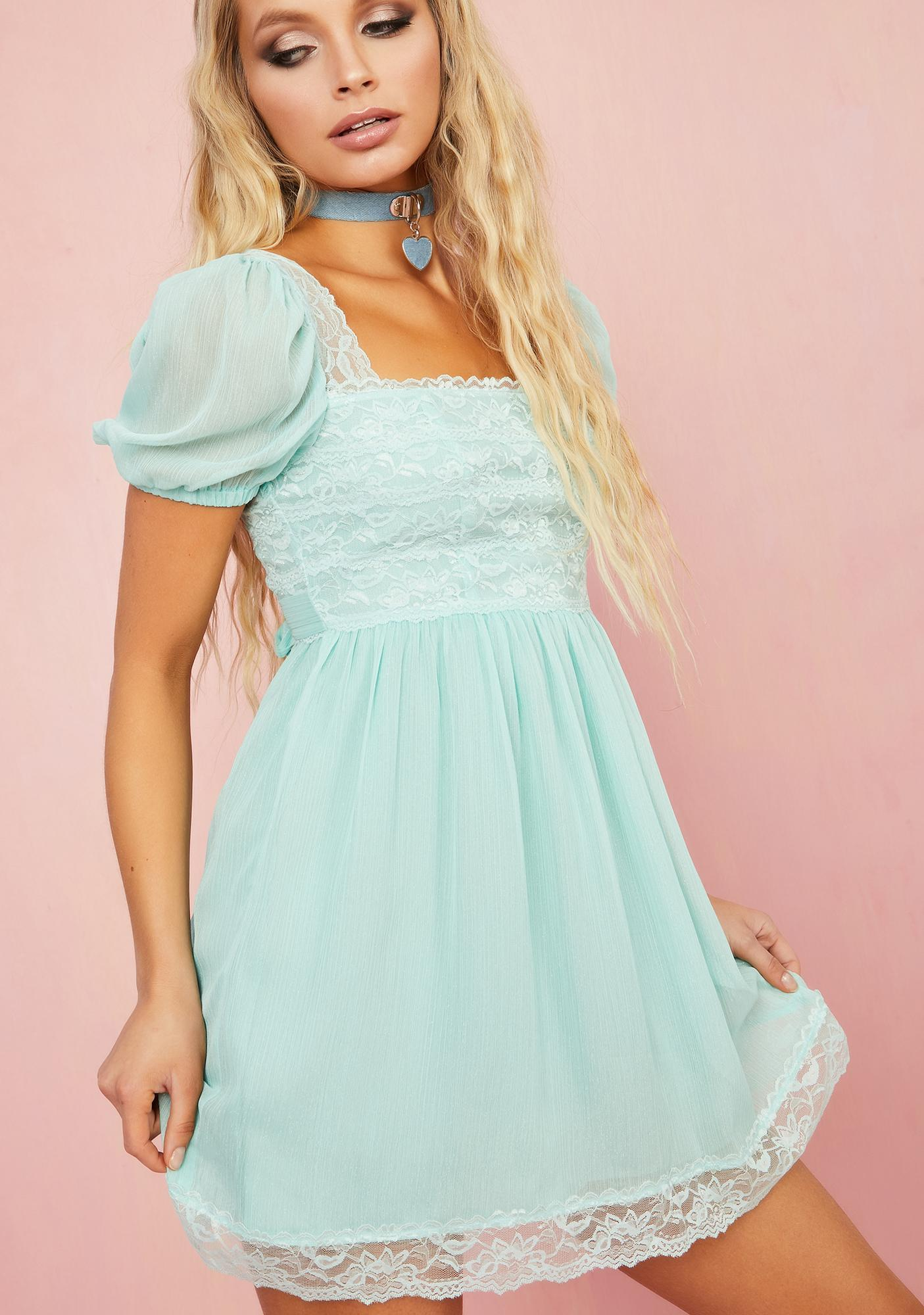 Sugar Thrillz Honeydew Pucker Babydoll Dress