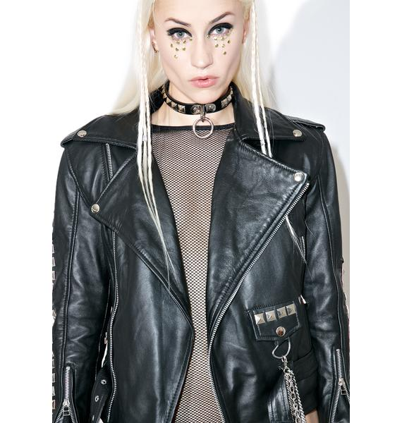 Who Cares NYC? Artsy BB Leather Moto Jacket