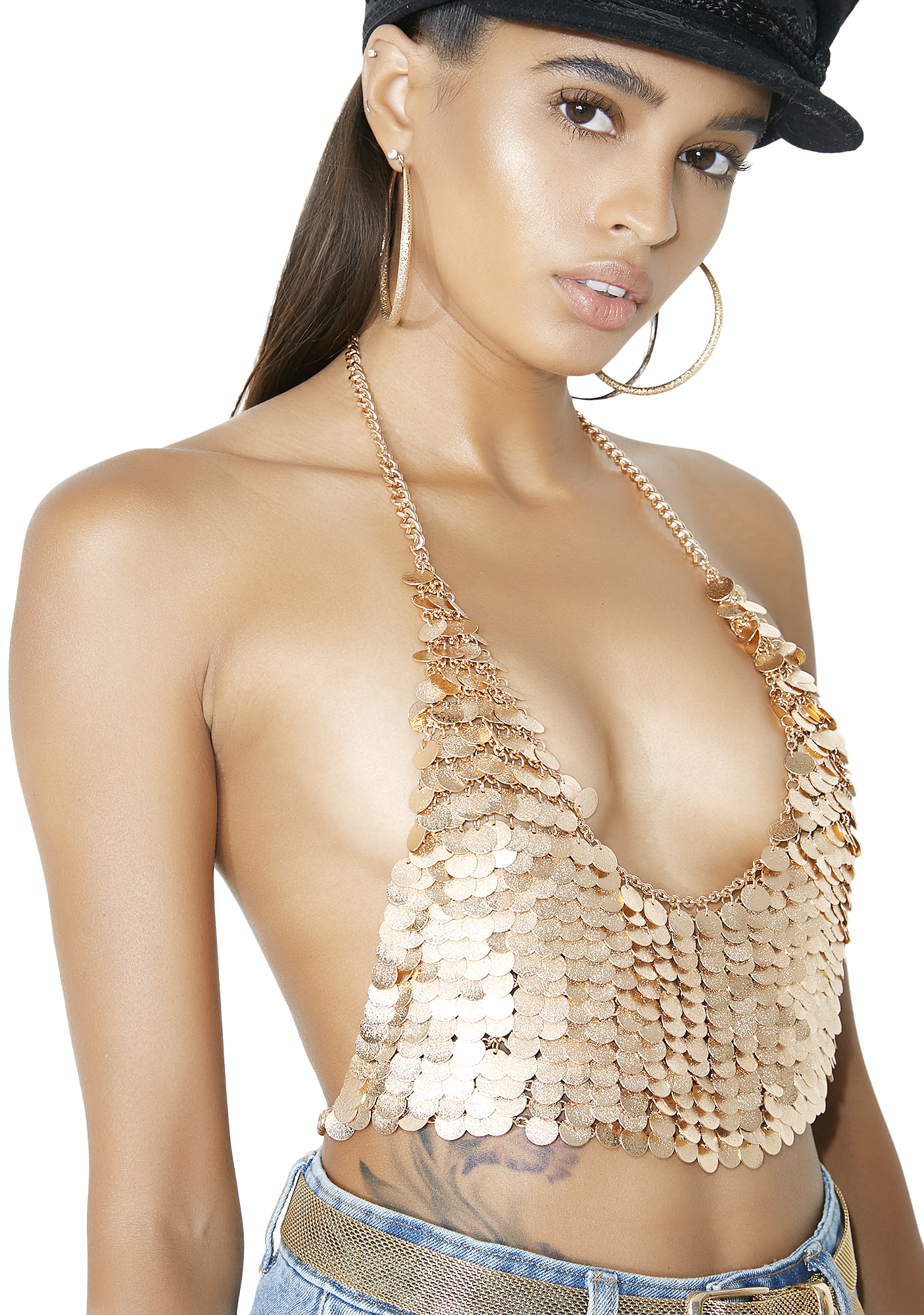 Gold Chainmail Coin Cropped Halter Top