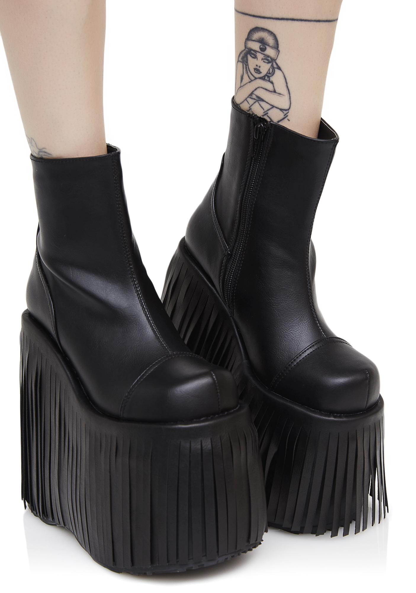 Demonia Dance Kraze Fringed Platform Boots