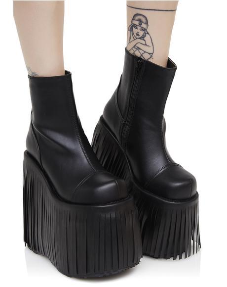 Dance Kraze Fringed Platform Boots