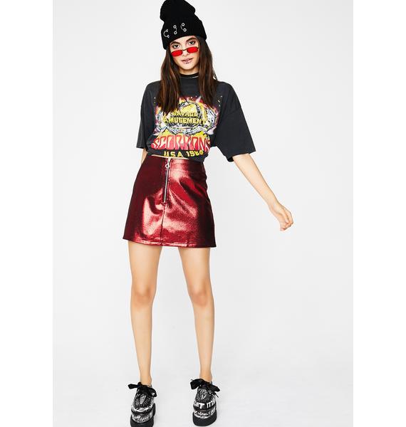 Give It Metallic Mini Skirt