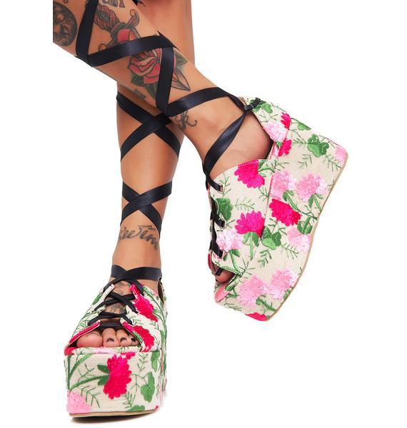 Public Desire Floral Storm Tie Up Flatform Sandals