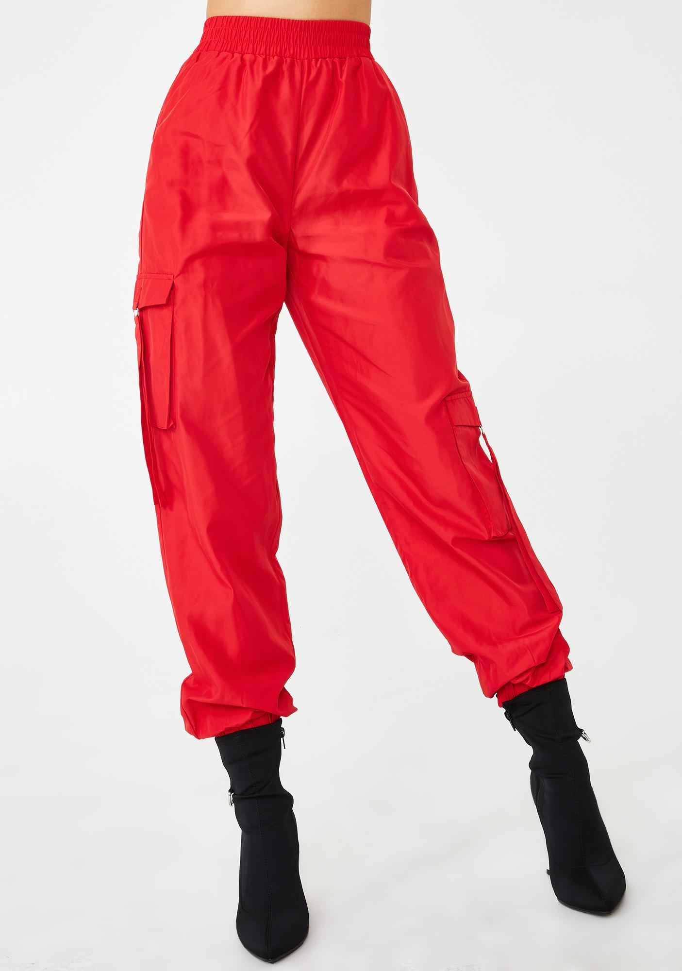 Tiger Mist Red Floss Cargo Pants
