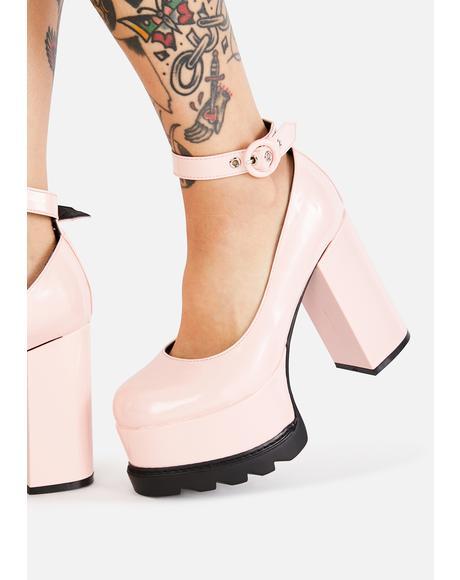 Pink Evil Attraction Platform Mary Janes