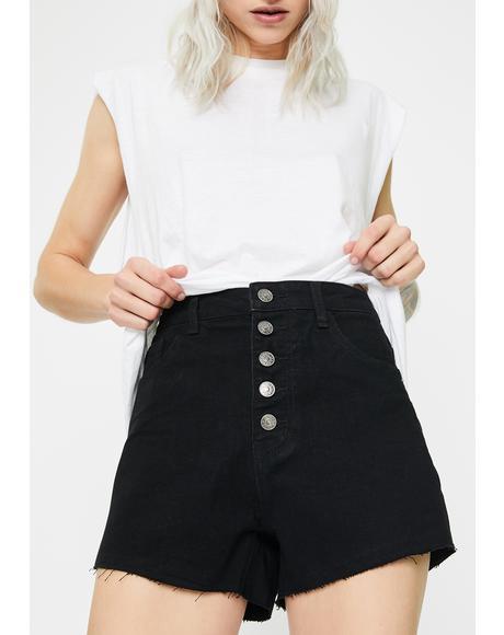 Washed Roll Hem Denim Shorts