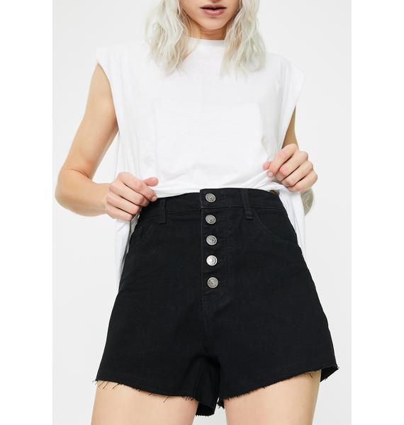 Momokrom Washed Roll Hem Denim Shorts