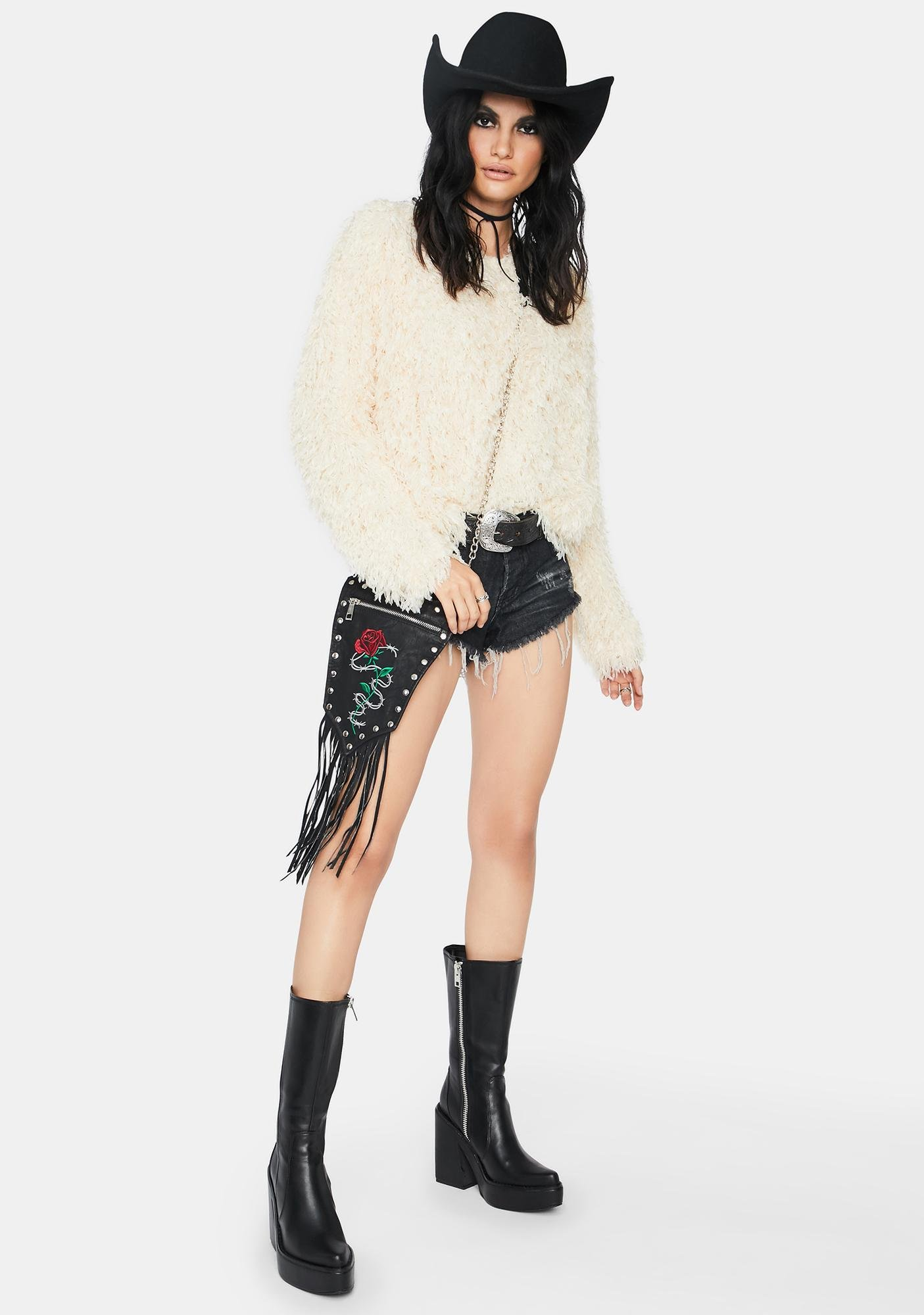 Champagne Beyond The Valley Fuzzy Sweater