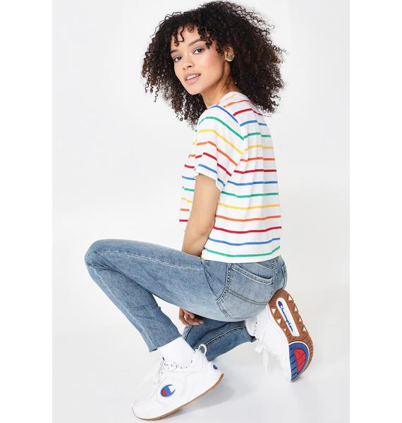 Dickies Girl Rainbow Stripe Tomboy Tee