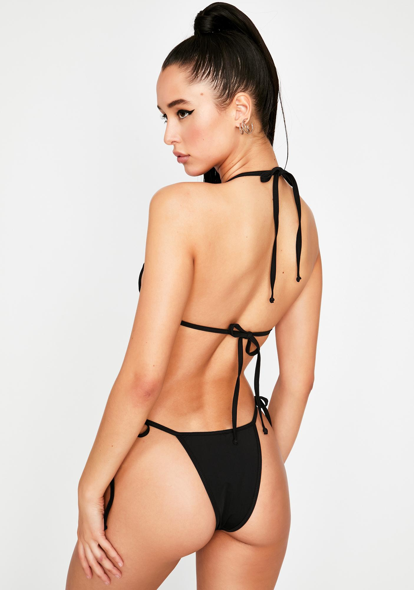 OH SHIT Black Tyra Bikini Bottoms