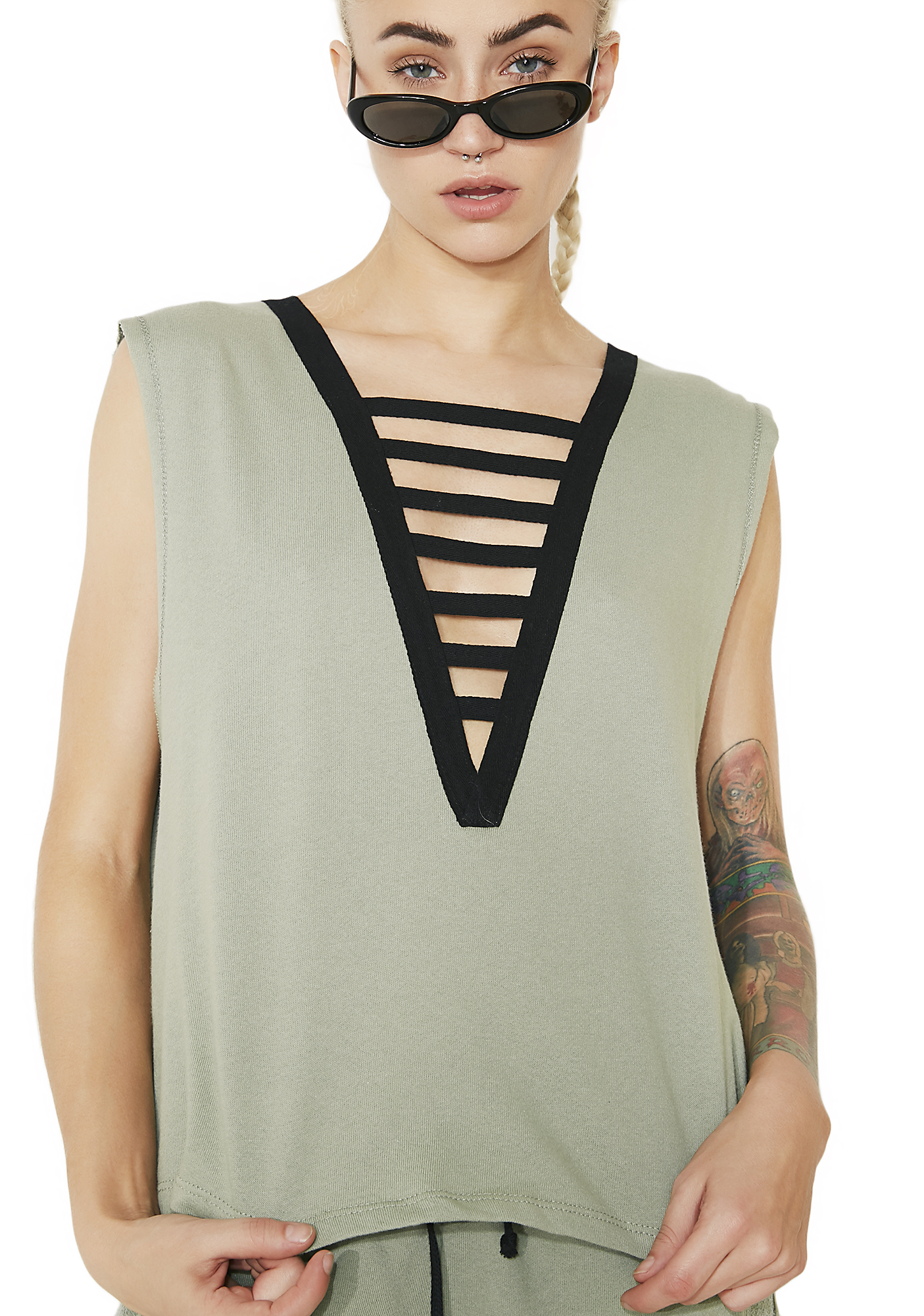 Green Cropped V-Neck Muscle Tank