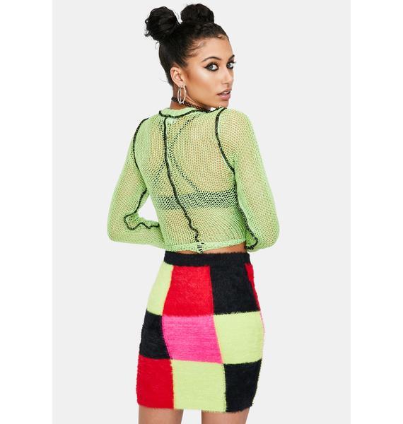 The Ragged Priest Scope Patchwork Knit Mini Skirt
